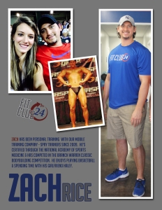 Zach has been Personal Training with our mobile training company, Spry Trainers, since 2009. He's certified through the National Academy of Sports Medicine & has competed in the Branch Warren Classic Bodybuilding Competition. He enjoys playing basketball & spending time with his fiancee Haley.